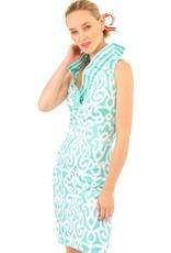 Gretchen Scott Designs Jersey Ruffneck Sleeveless Arabesque Dress - Turquoise - Goddess