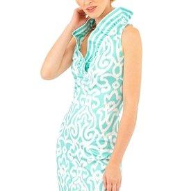 Gretchen Scott Designs Jersey Ruffneck Sleeveless Arabesque Dress - Turquoise - X-Large