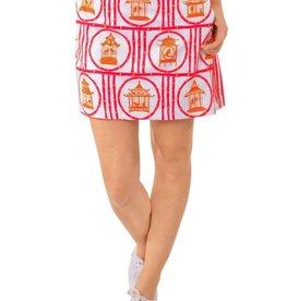 Gretchen Scott Designs Jersey Skippy Skort - Bird Palace - Pink & Orange - X-Small