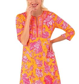 Gretchen Scott Designs Jersey Split Neck Dress - Glorious - Orange & Pink - Goddess