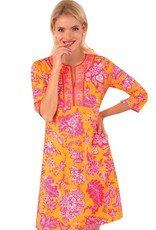 Gretchen Scott Designs Jersey Split Neck Dress - Glorious - Orange & Pink - Medium