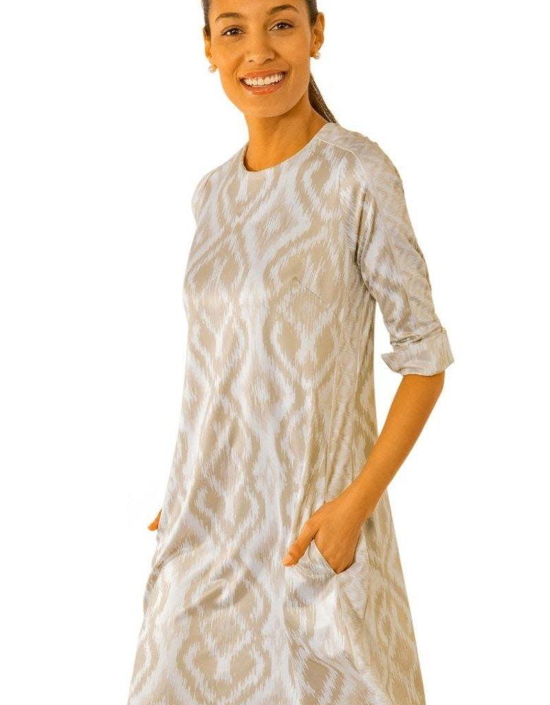 Gretchen Scott Designs Jersey Swinger Kitt Ikat Dress - Khaki - Large