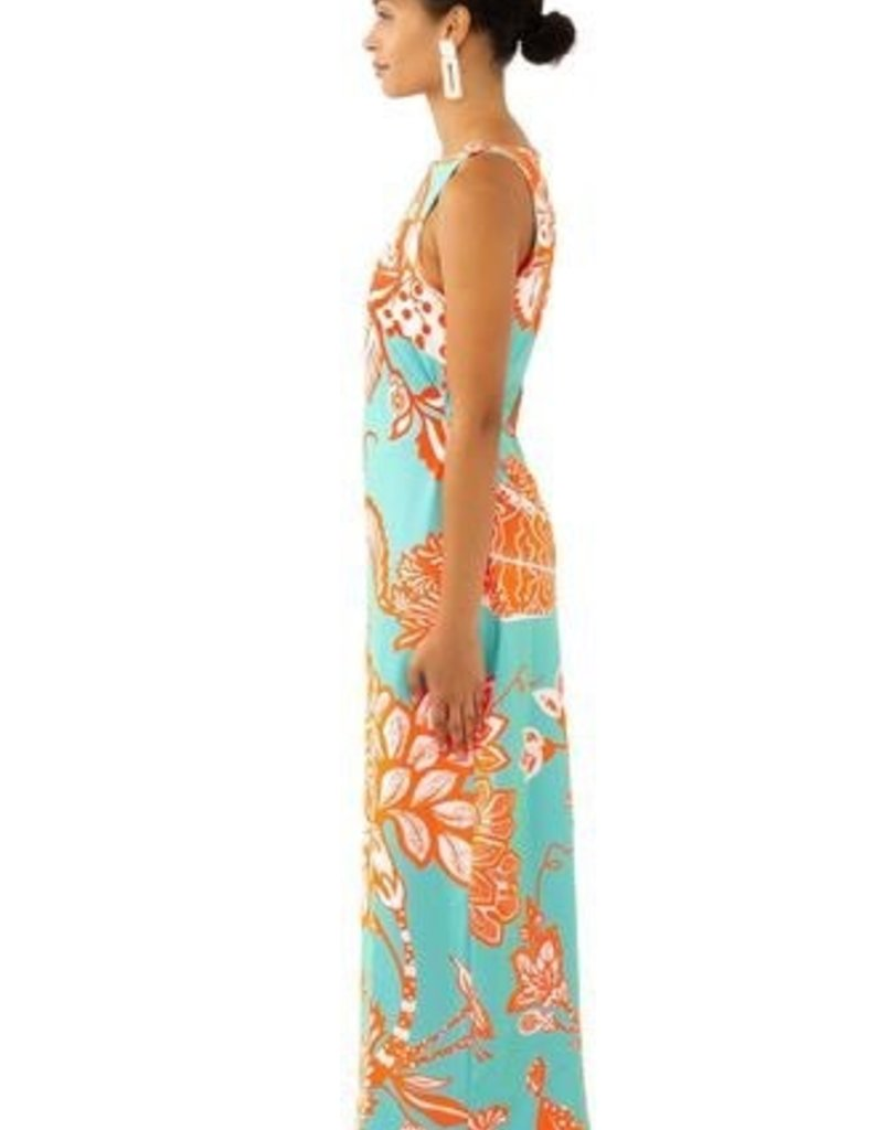 Gretchen Scott Designs Jersey Side Tie Midi Dress - Glorious - Turquoise & Coral - X-Small