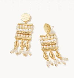 Spartina 449 Cowrie Bamboo Earrings White