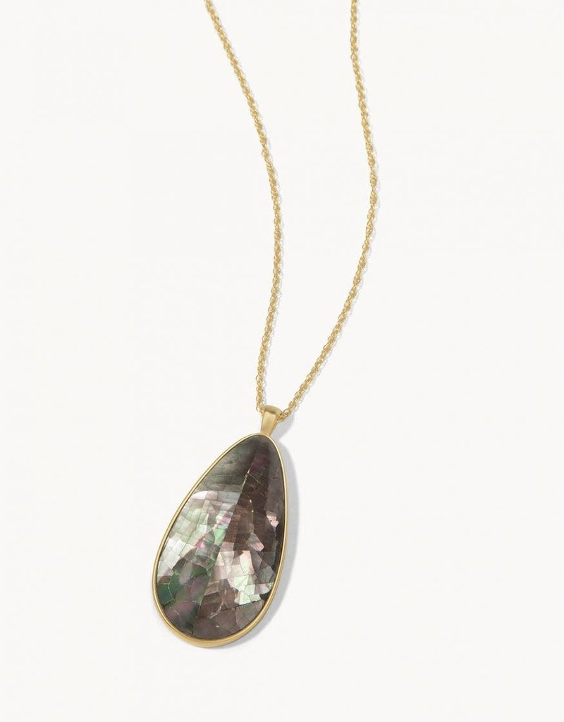"""Spartina 449 Crushed Pearl Necklace 32"""" Teardrop Iced Grey"""