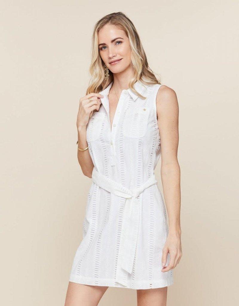 Spartina 449 Eliza Eyelet Shirt Dress Pearl White - Garden House - Large