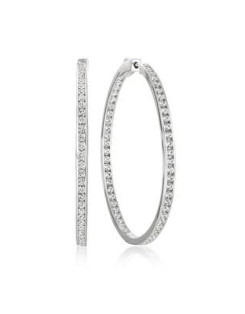 "Crislu Classic Inside Out Hoop Earrings Finished in Platinum  - 1.3"" Diameter"