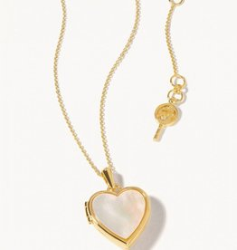 """Spartina 449 Heart Locket Necklace 30"""" Pearlescent"""