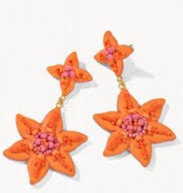 Spartina 449 Lily Beaded Earrings Orange