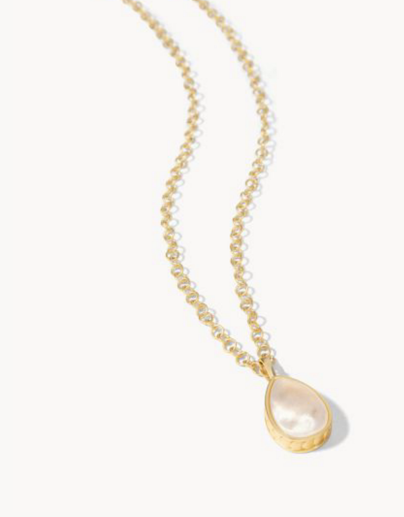 """Spartina 449, LLC Naia Teardrop Necklace 16"""" Gold / Mother of Pearl"""