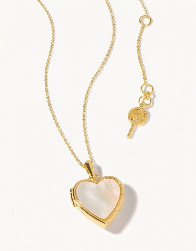 "Spartina 449 Open Heart Locket Necklace 30"" -Blush Enamel"