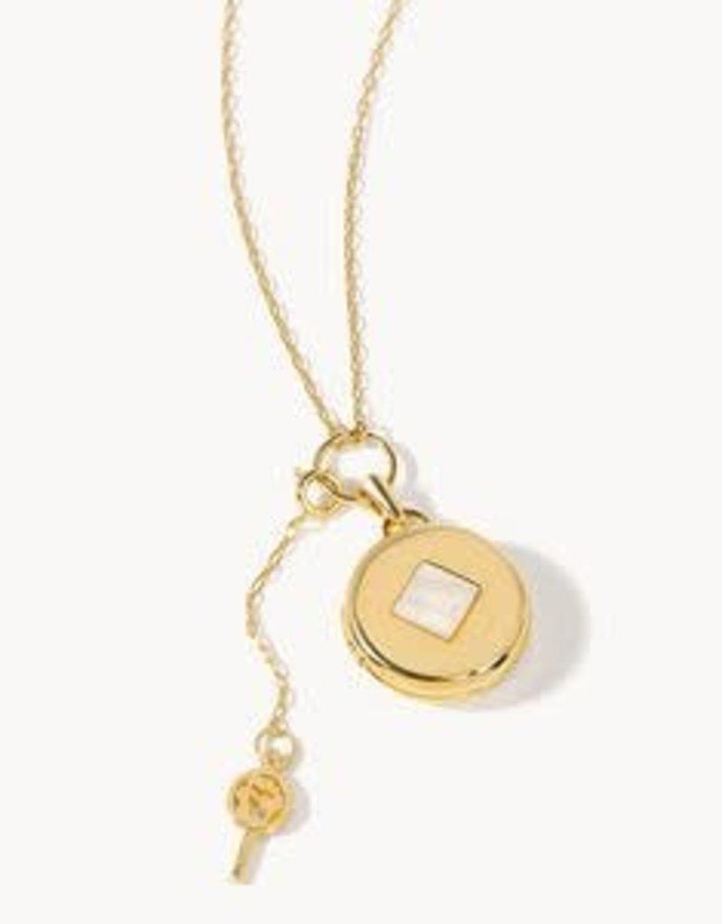 "Spartina 449, LLC Round Locket Slide Necklace 28"" Pearlescent Diamond"