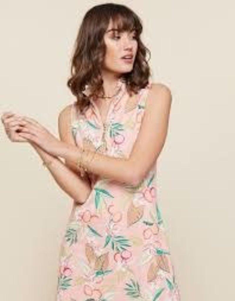 Spartina 449 Serena Half-zip Dress Pink Lemonade - Medium