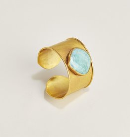 Adjustable 18K Gold Plated Cuff Bracelet - Amazonite