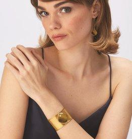 Adjustable 18K Gold Plated Cuff Bracelet - Tiger's Eye