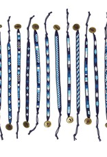 Blue and White Seed Bead Adjustable Bracelet - Assorted Designs