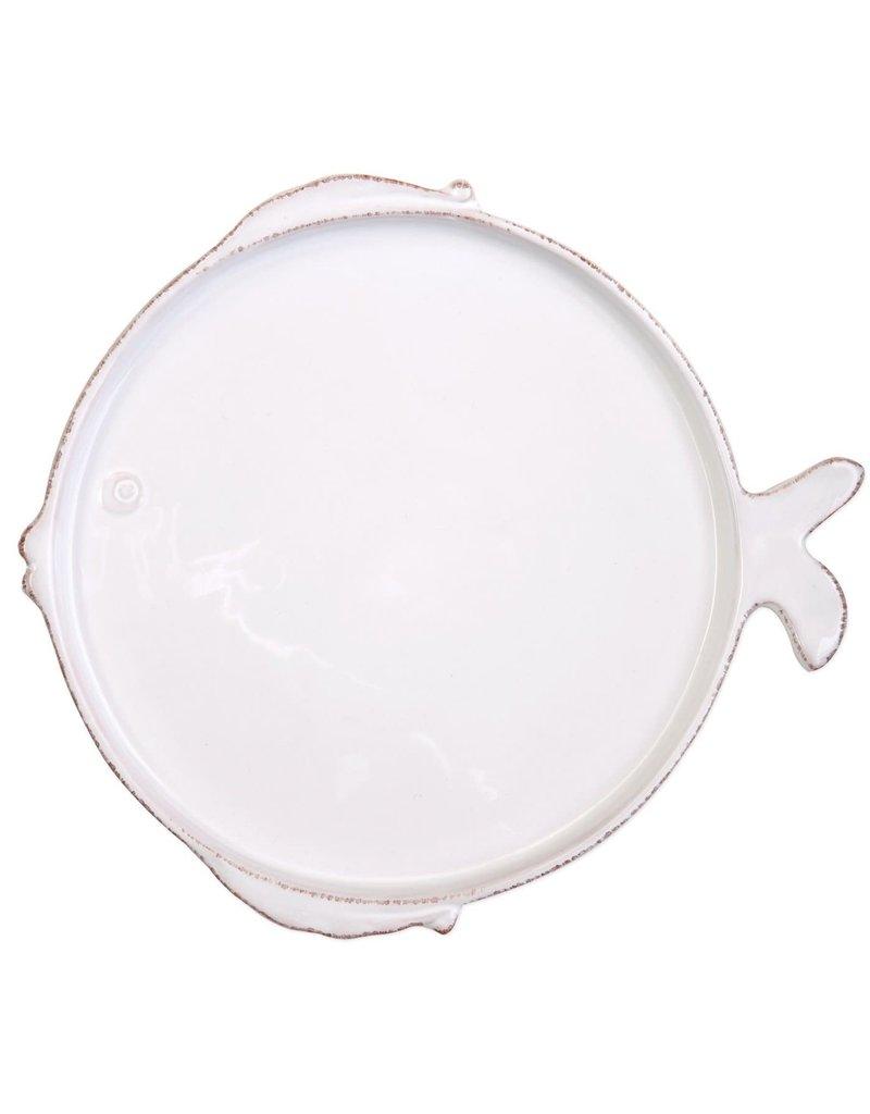 Vietri Melamine Lastra Fish White Salad Plate