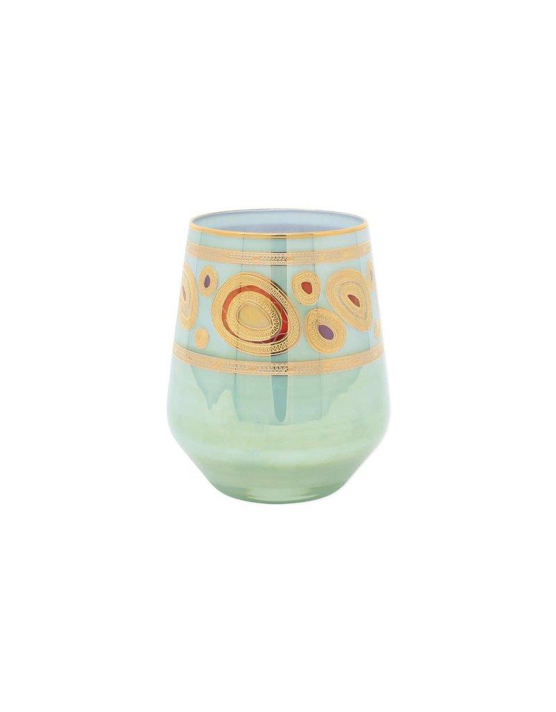 Vietri Regalia Stemless Wine Glass - Aqua
