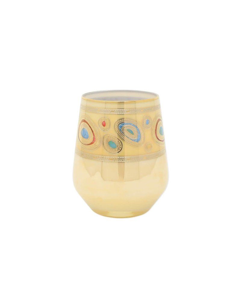 Vietri Regalia Stemless Wine Glass - Cream