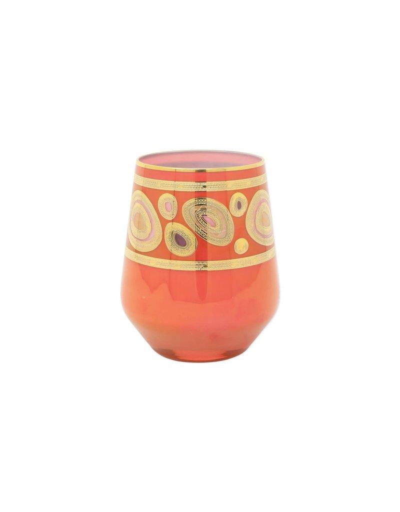 Vietri Regalia Stemless Wine Glass - Orange