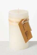 "Vance Kitira Timber Pillar Candle - 6""x3.25"" - Melon White"