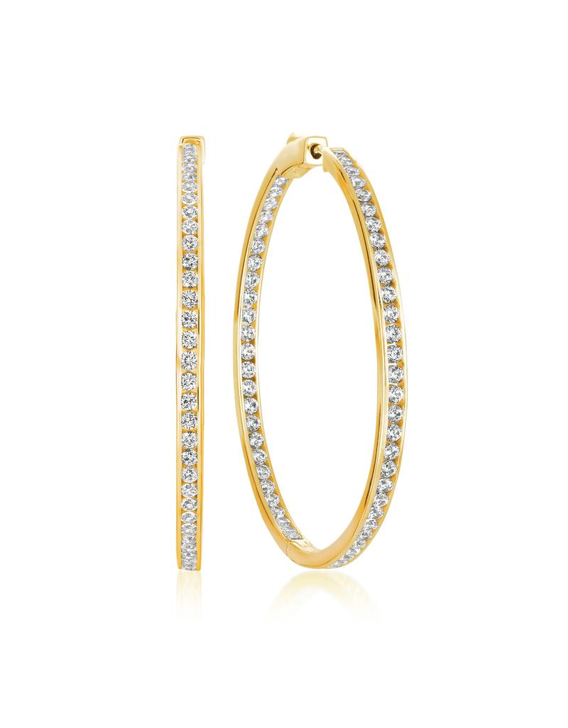"""Crislu Classic Inside Out Hoop Earrings Finished in 18KT Gold - 1.3"""" Diameter"""