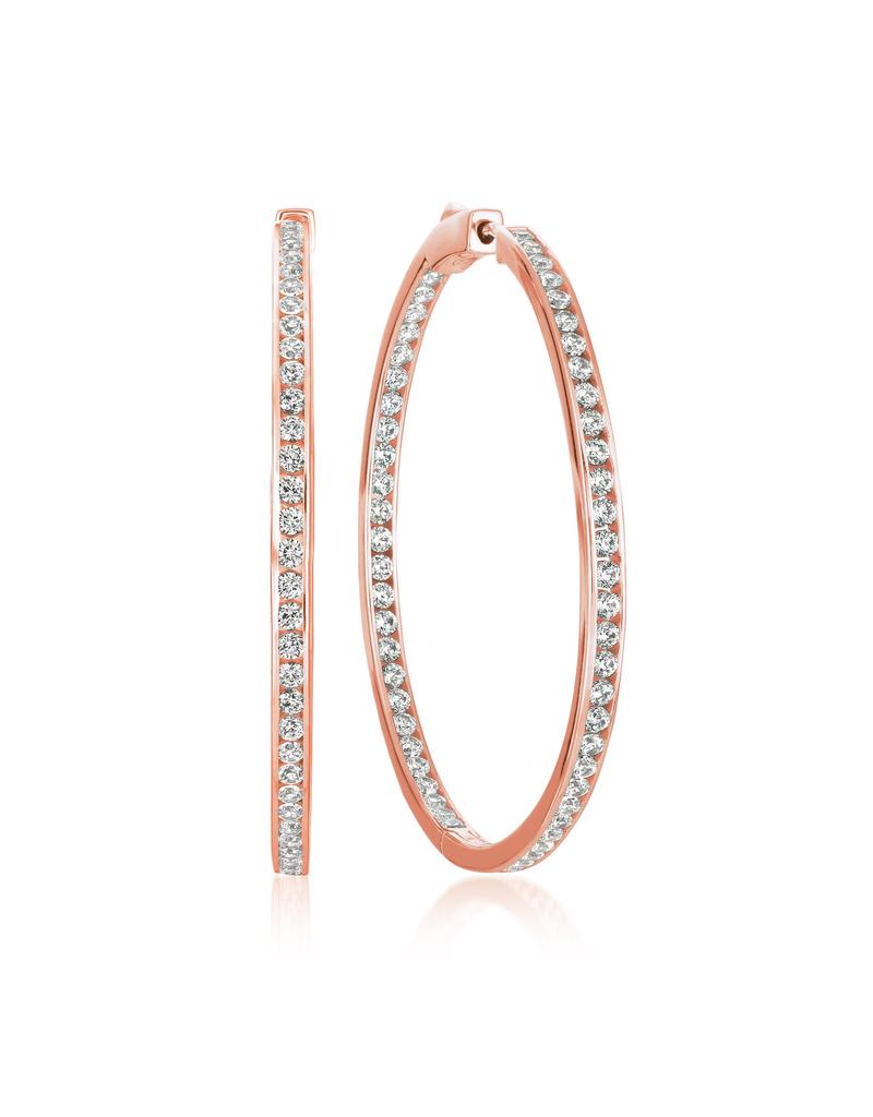 "Crislu Classic Inside Out Hoop Earrings Finished in 18KT Rose Gold - 1.3"" Diameter"