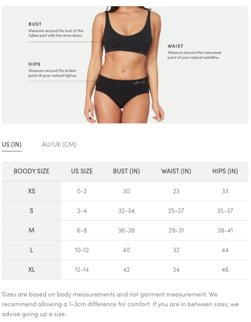 Boody Eco Wear Classic Bikini - Black - Small