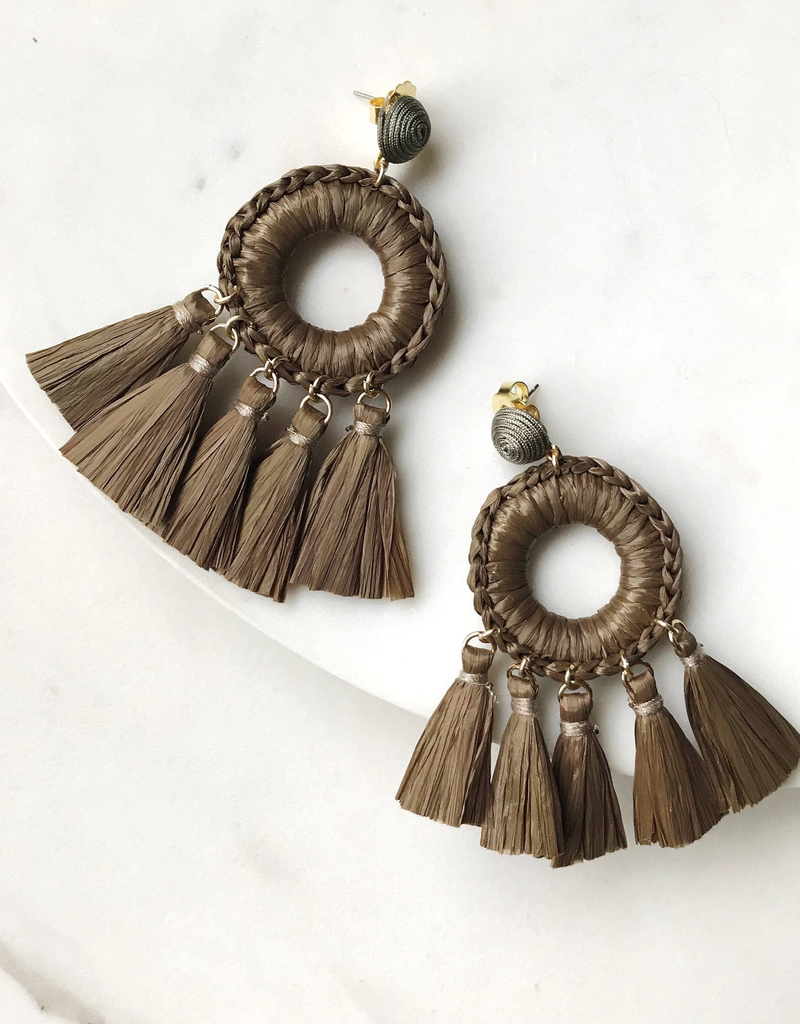 Raffia Open Circle Fringe Earrings - Military Green