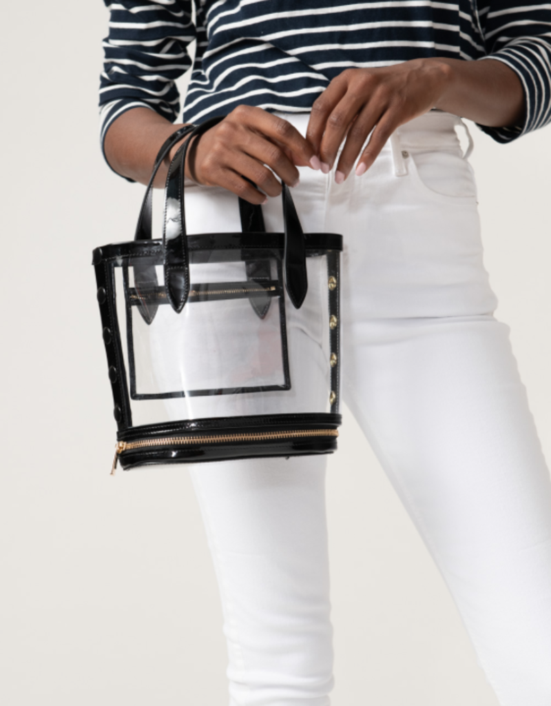 Neely & Chloe Packable Bucket Bag - Steel Blue Patent Leather and Clear PVC