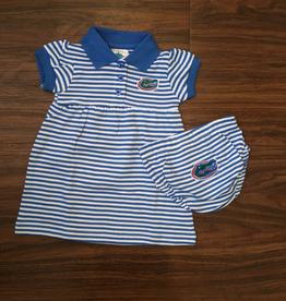Gator Stripe Dress/Bloomer - Blue - 12 Months