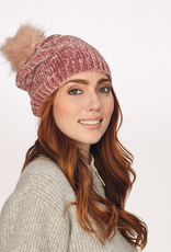 Plush Chenille Hat with Faux Fur Pom Pom - Pink