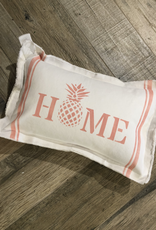 """Small White Pillow 12""""x18"""" - Home Pinapple w/ Stripes - Pink Punch"""