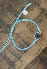 Dune Jewelry Touch the World Light Blue Cord Bracelet - Mussel Shell