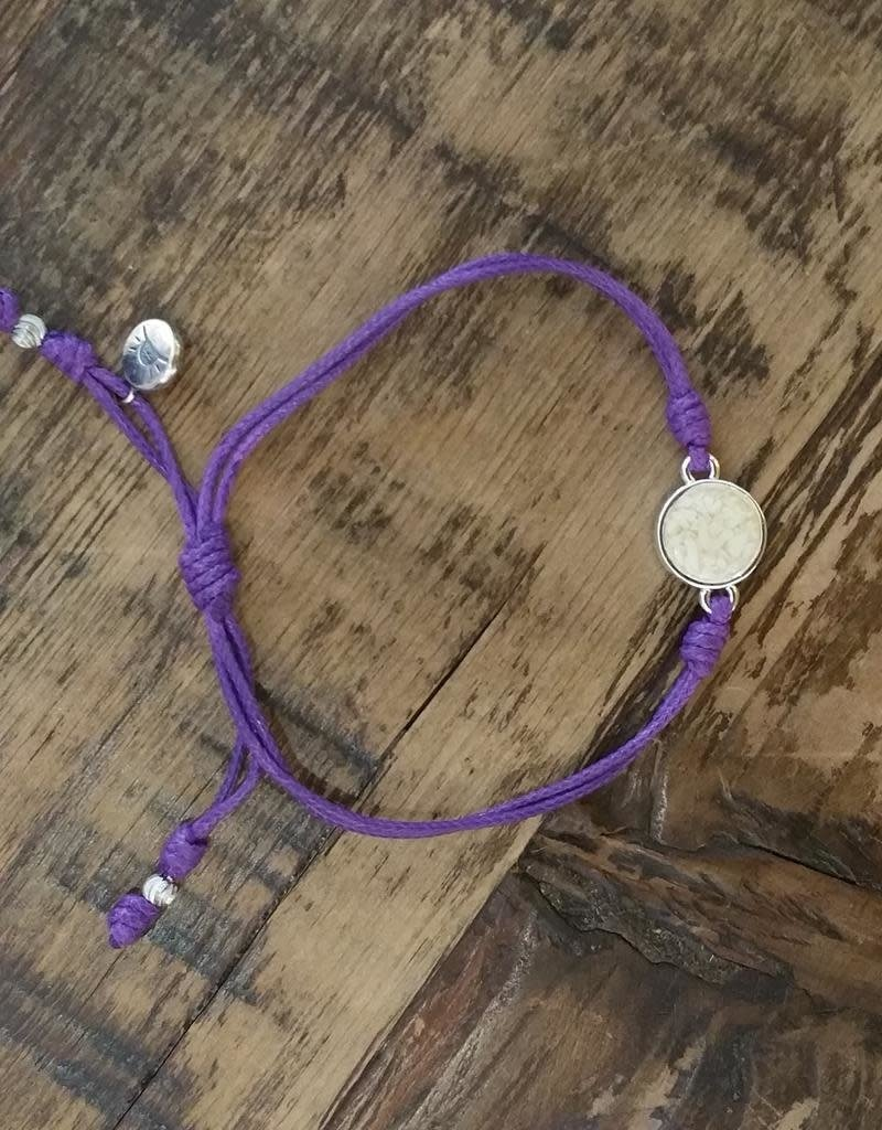 Dune Jewelry Touch the World Purple Cord Bracelet - Conch Shell