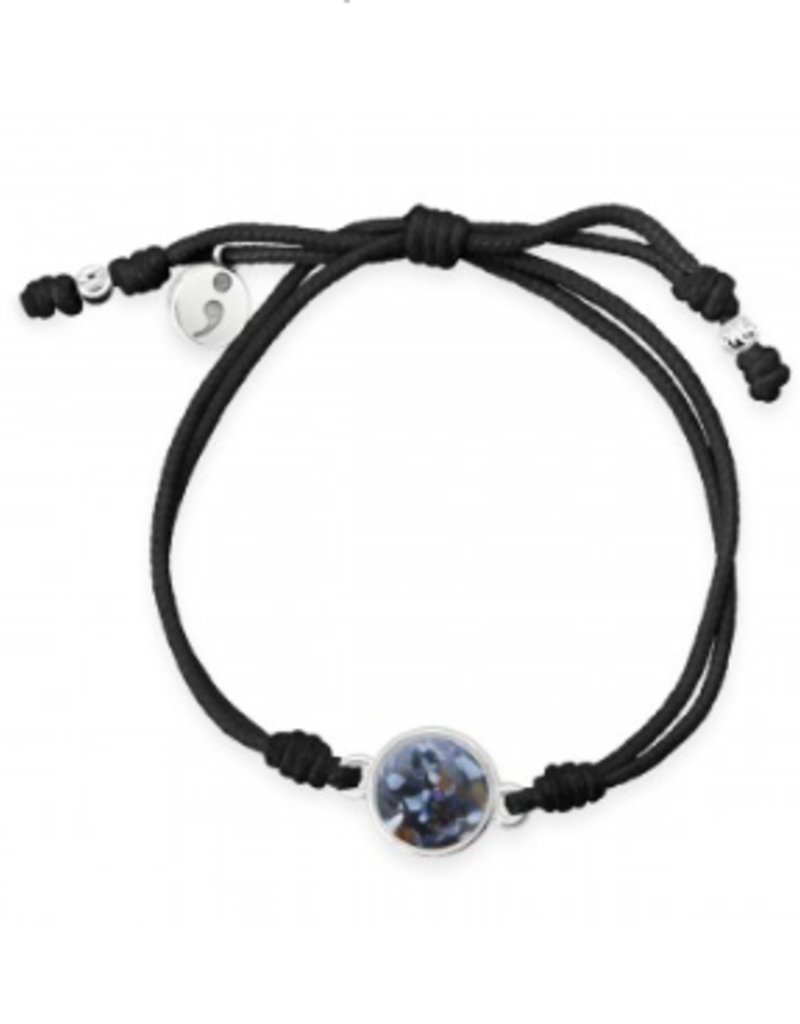 Dune Jewelry Touch the World Black Cord Bracelet - Teal Limpet Shell