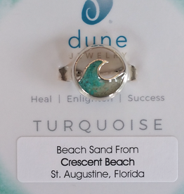 Dune Jewelry Cresting Wave Sterling Silver Ring - Turquoise & Crescent Beach Gradient - Size 8