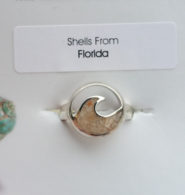 Dune Jewelry Cresting Wave Sterling Silver Ring - Shells from Florida - Size 8