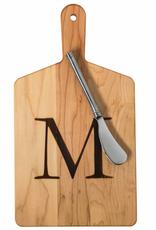 Initial Maple Cheese Board w/ Spreader-O