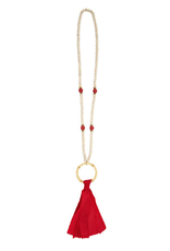 Red Tassel Bamboo Necklace