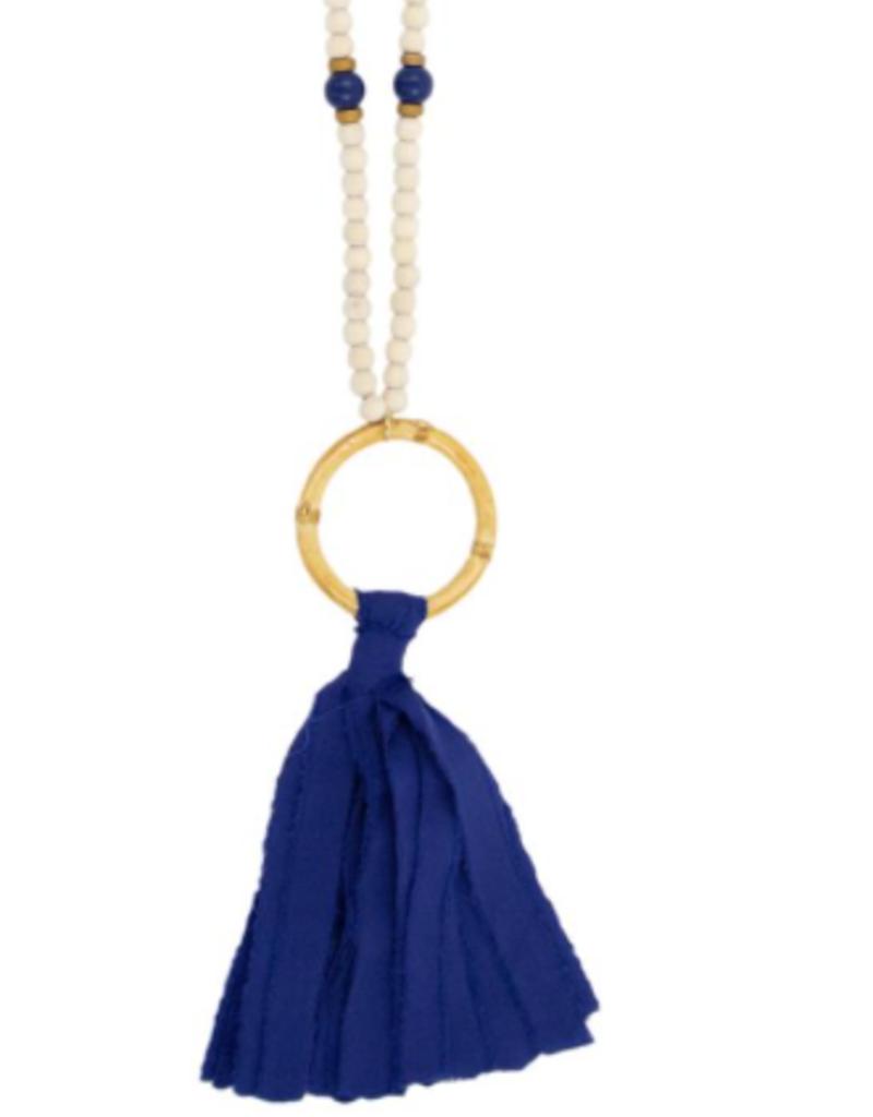 Navy Tassel Bamboo Necklace