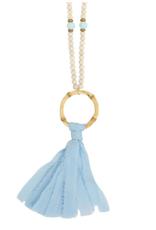 Light Blue Tassel Bamboo Necklace