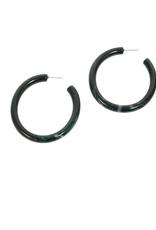 Resin Hoop Post Earring - Teal Green