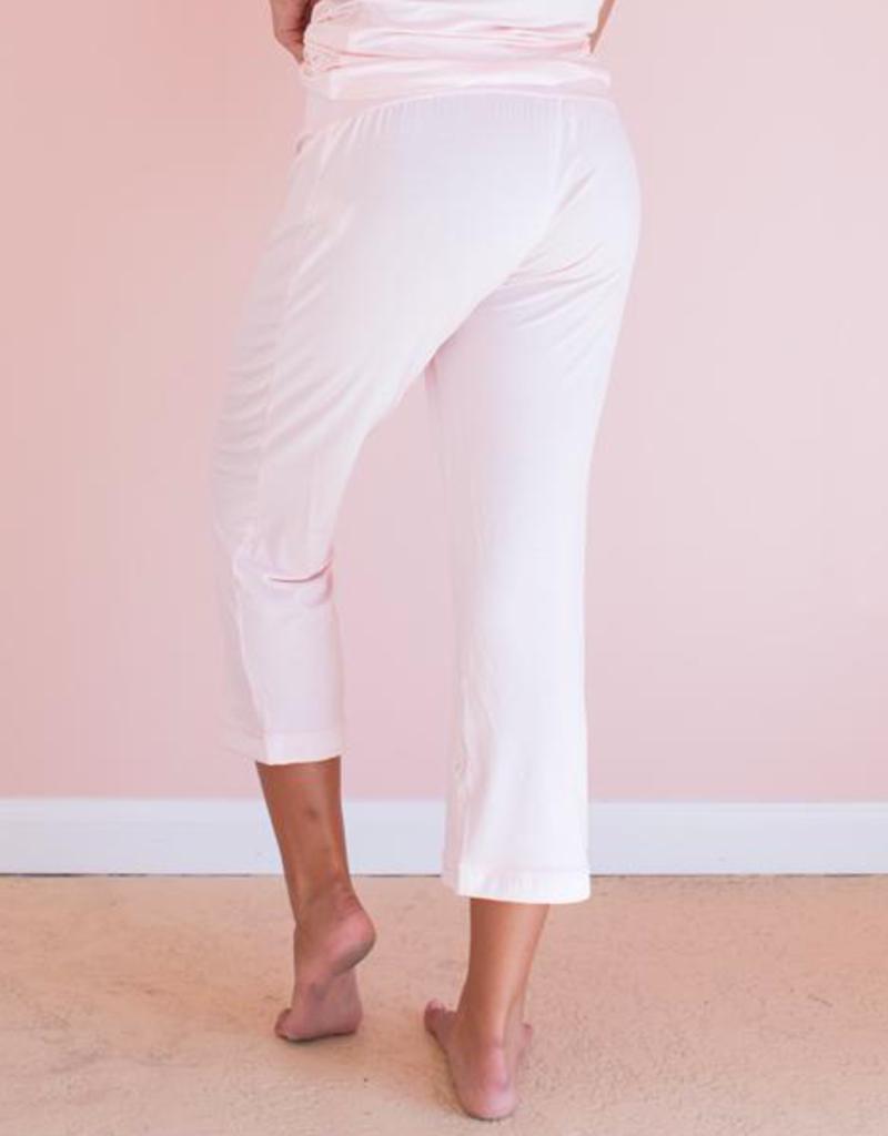 Pink Bamboo Capri Pants - Large