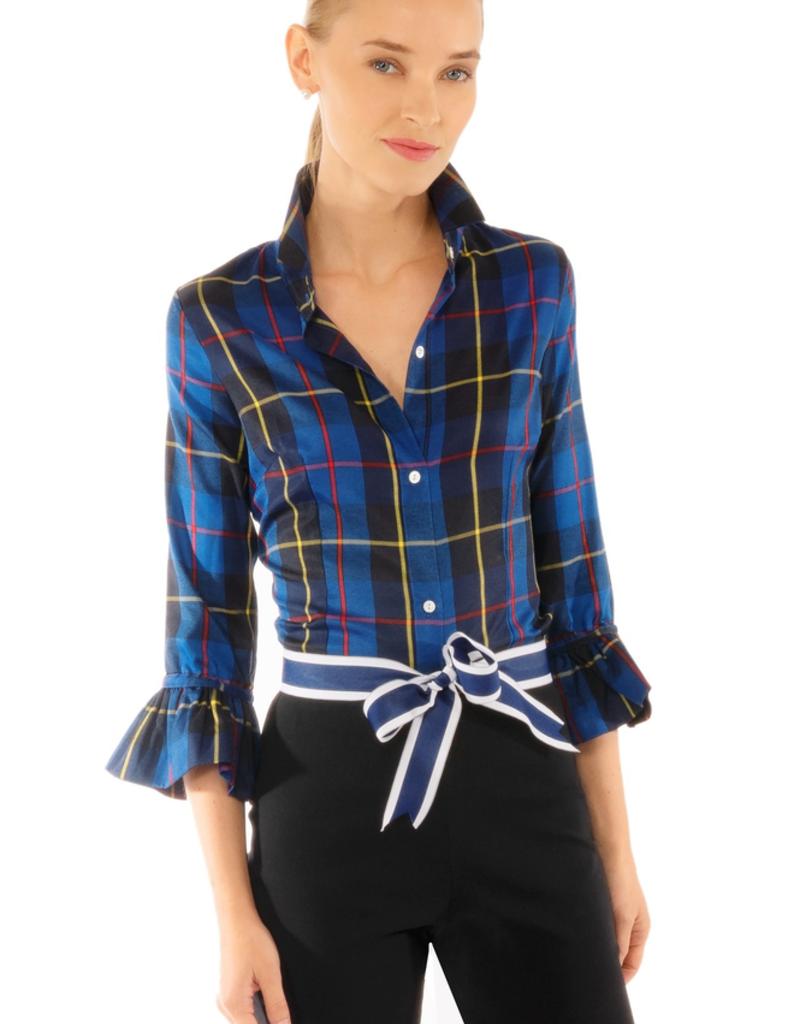 Gretchen Scott Designs Priss Blouse - Plaidly Cooper Blue Multi  - Goddess