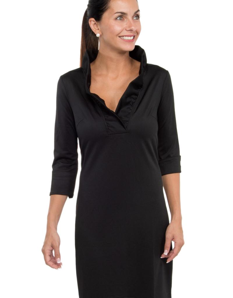 Gretchen Scott Designs Jersey Ruffneck Dress - Black/Pink - Goddess