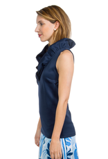 Gretchen Scott Designs Jersey Sleeveless Ruffneck Top Navy - Medium