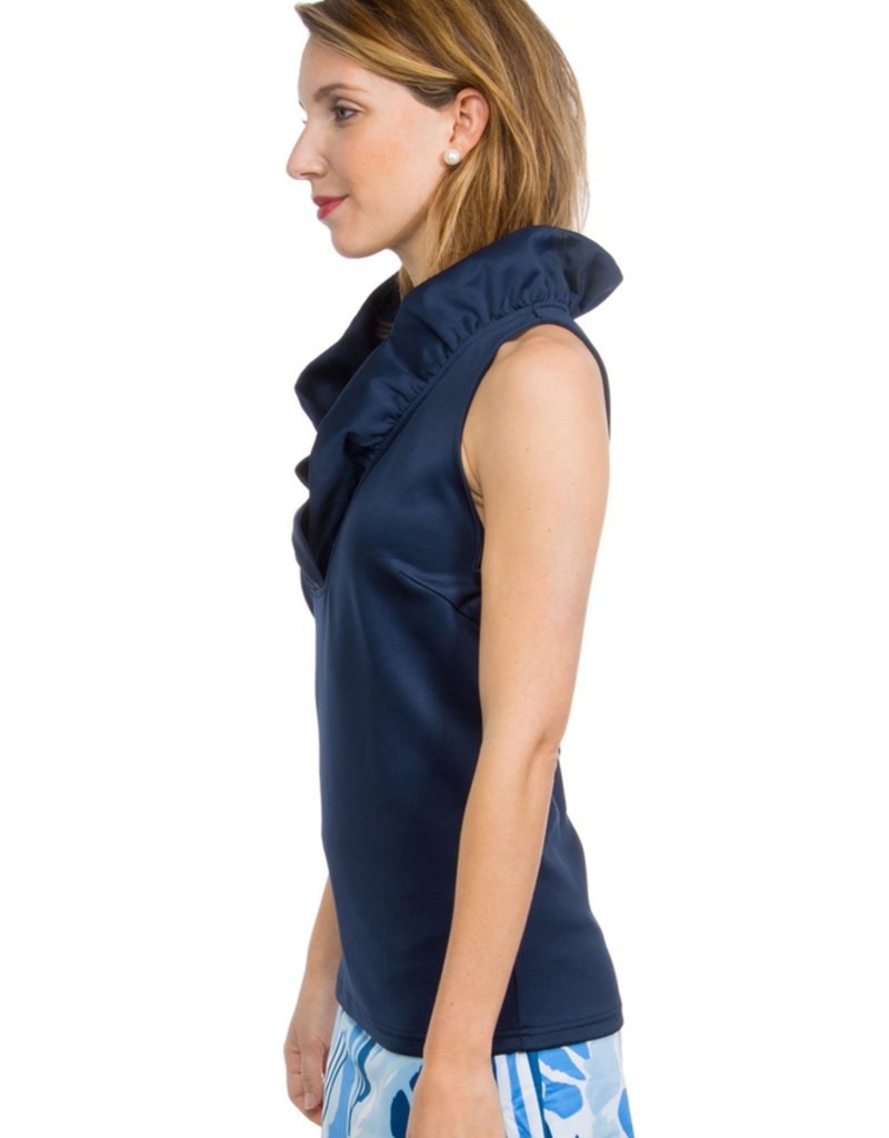 Gretchen Scott Designs Jersey Sleeveless Ruffneck Top Navy - Goddess