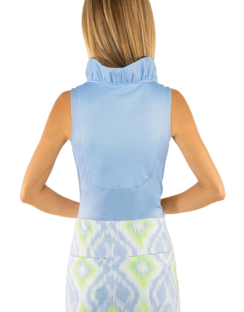 Gretchen Scott Designs Jersey Sleeveless Ruffneck Top Periwinkle - Large