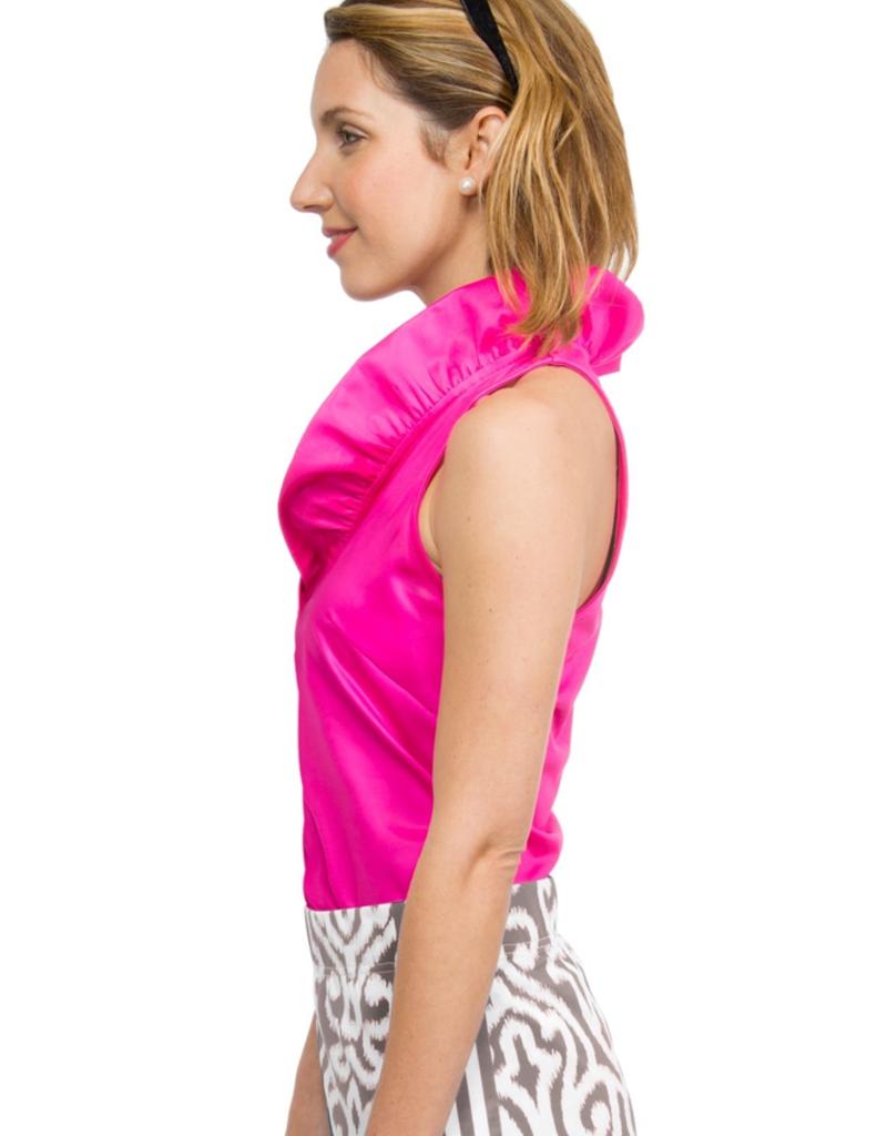 Gretchen Scott Designs Jersey Sleeveless Ruffneck Top Pink - Medium